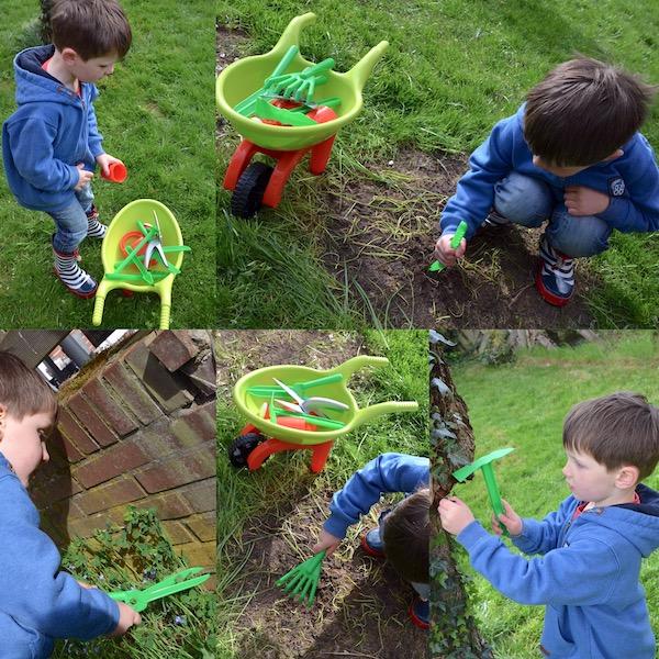Leon testet Gartenwerkzeug