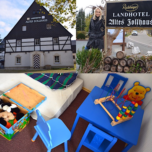 Altes Zollhaus im Erzgebirge mit Kindern